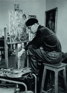 Bror Hjorth under arbetet med målningen Flicka i gungstol, 1947.