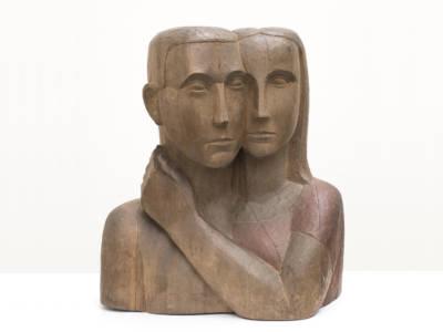 Bild på träskulptur.